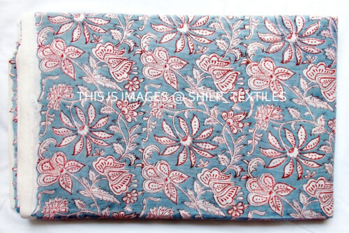 Blumenaufdruck Indisch Hand Block Laufen Locker Baumwolle Stoff Bedruckt Dekor