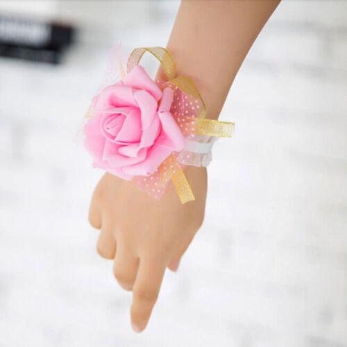 Wrist Corsage Bracelet Bridesmaids Hand Flowers Weddings Party Proms UK SELLER