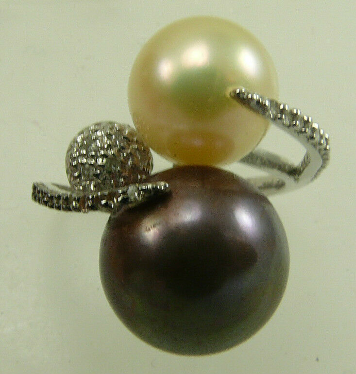 Freshwater Light golden & Brown Pearl Ring with 14k White gold & Diamonds 0.21ct