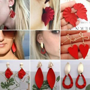 Fashion-Red-Heart-Geometric-Earrings-Women-Gold-Bow-Drop-Dangle-Jewellery-Gifts