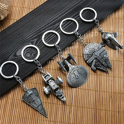 1PC Punk Star Wars Millenium Falcon Star Destroyer Metal Keyring Keychain Ring