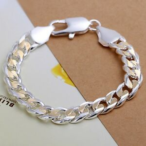 8763fccfe9f3b8 Hot 925Sterling Solid Silver Men Jewelry Gold 10M Chain Bracelet For ...