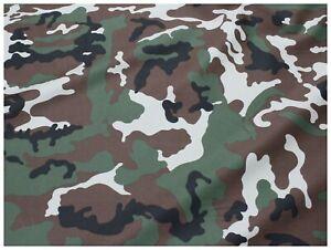 Tessuto-Cotone-Gabardine-Stampa-Mimetico-Camouflage-Militare-Marrone-Verde