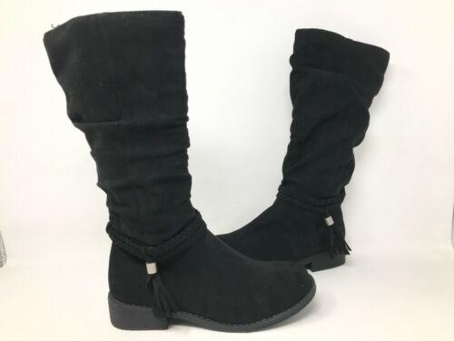 SO Youth Girls Ellen Tall Zipper Fringe Boots Black #213532 191FGHiJK tk NEW