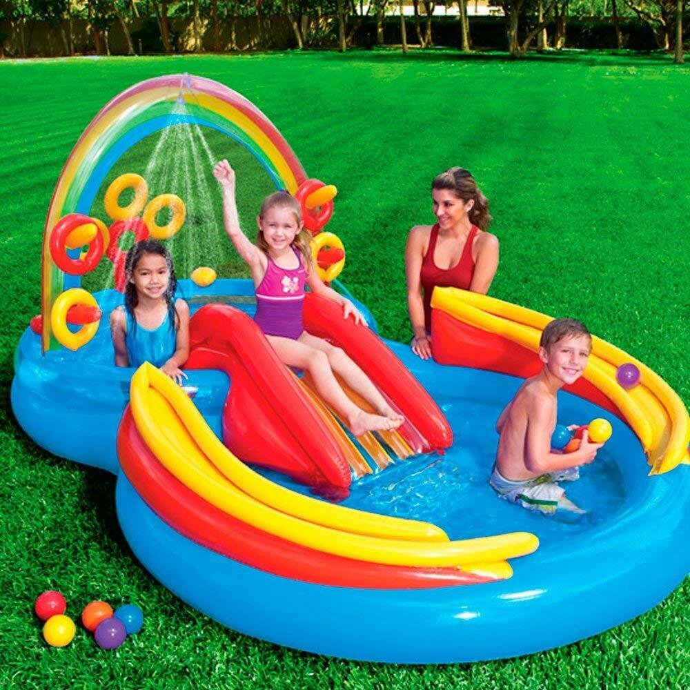 Outdoor Summer Fun Inflatable Pool Water Water Water Slide Rainbow Play Water Park Center 1fde89