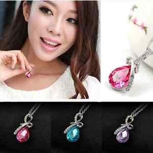 Noble-Girl-Rhinestone-Chain-Crystal-Waterdrop-Pendant-Wedding-Jewelry-Necklace