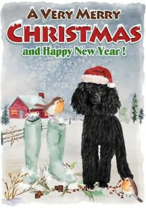Poodle-Black-Dog-A6-4-034-x-6-034-Christmas-Card-Blank-inside-Design-by-Starprint