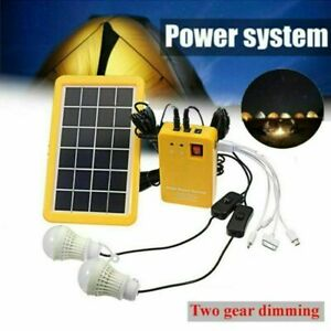 Solar-Panel-Power-System-Kit-Charging-Generator-LED-Outdoor-Camping-2-Light-M3Y6