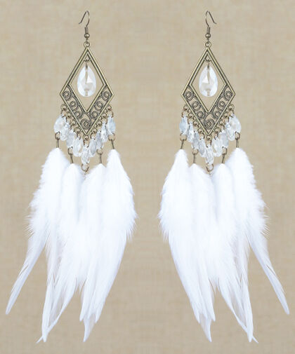 F2435 white downy Feather earrings bead bronze rhombus charming ornament