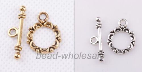 30sets Antique Silver//Golden Lacework Round Toggle Clasps For Craft Making