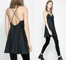 ZARA Black Flared With Thin Straps Lingerie Style Popular Mini Dress Tunic LARGE