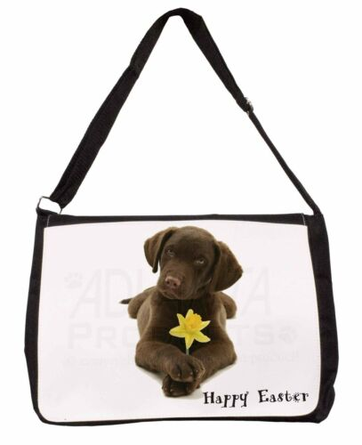 'Happy Easter' Labrador Large Black Laptop Shoulder Bag SchoolColl, ADL53DA1SB