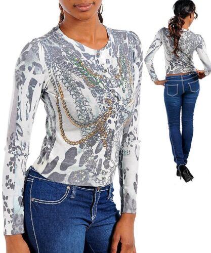 Sublimations M//Medium Knit Sweater,Leopard,Chains,Tattoo Print,Rhinestones
