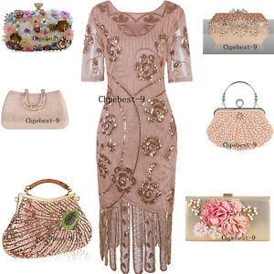 Rose Gold Dress 1920s Costumes Great Gatsby Dresses Evening Gown Party Christmas Ebay