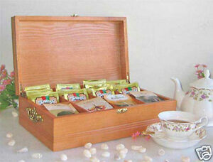 Elegant Tea Bag Chest Cabinet with top cover, solid wood, TEA2-OA