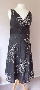 soie Monsoon Taille en 12 lin robe de formelle Bnwt brune Belle mariée zrrFU7