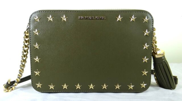 f9ad43b9c523 Michael Michael Kors Ginny Medium Camera Olive Leather Stars Studs Crossbody  Bag