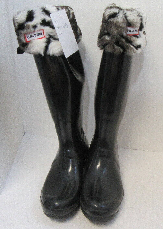 HUNTER Black Tall Rain Boots w/ Fleece Zebra Sock… - image 3