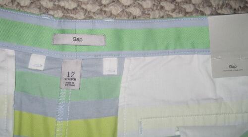 NWT GAP YELLOW BLUE GREEN STRIPE COLORBLOCK 12 14 CHINO KHAKI SHORT SHORTS