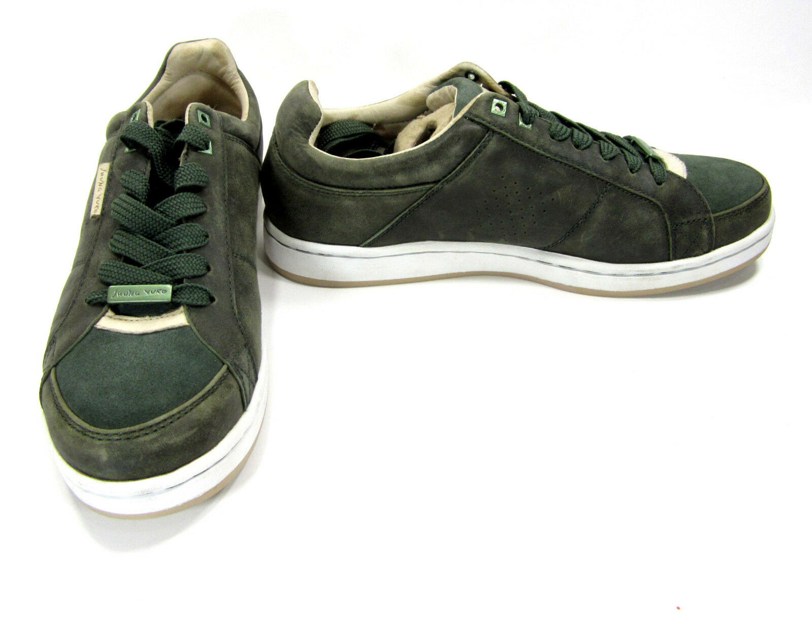 Jhung Yuro Chaussures Exotic Suede Lo Casual Dark Vert/Doré Sneakers