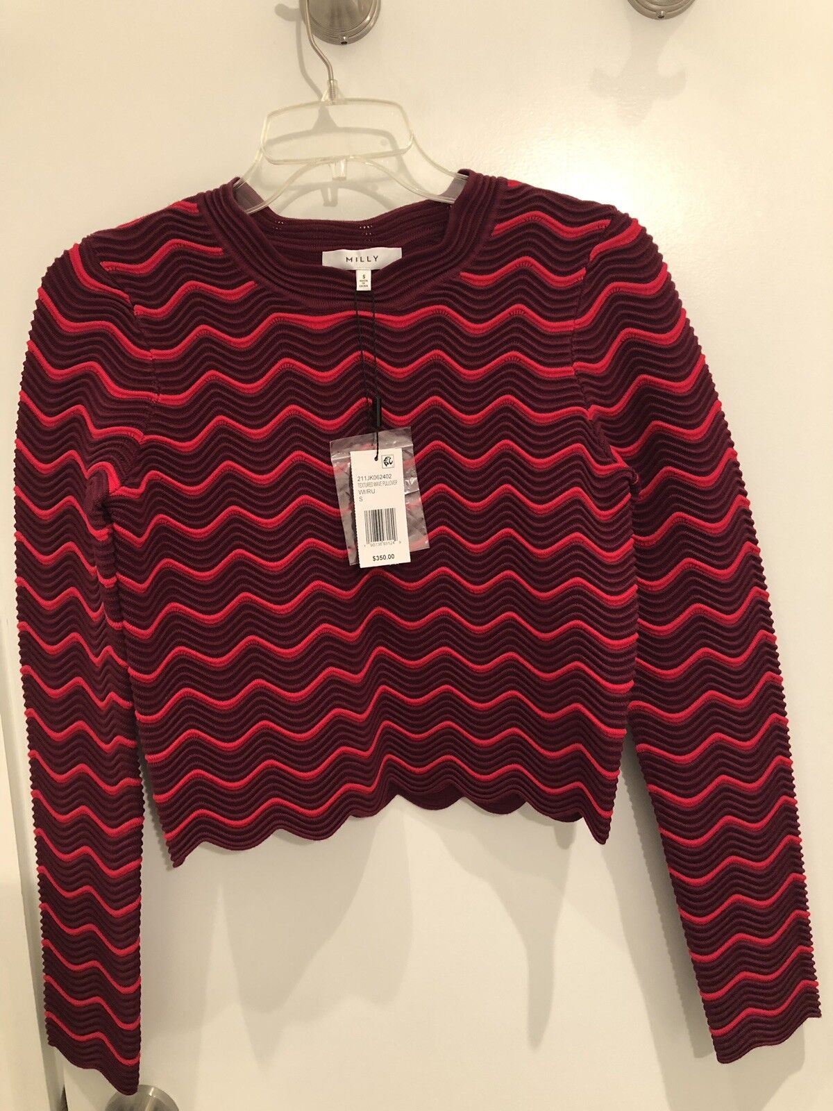 Milly Red And Purple Wave Crop Sweater Size S New With Tags