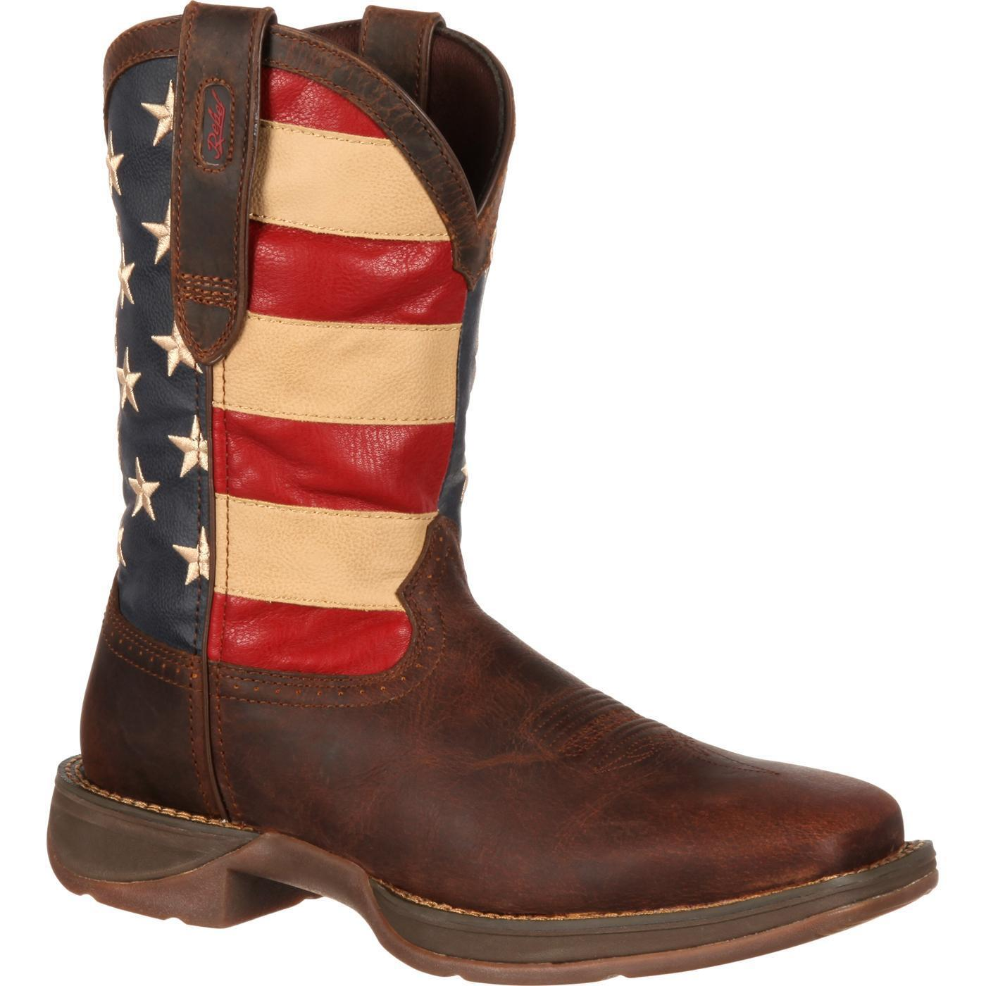 DURANGO Men's Patriotic Brown Pull-On Square Toe Western Flag Boots NIB DB5554