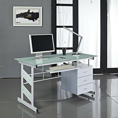 Glass Computer Desk with Drawers White PC Home Office Table Furniture Work Study