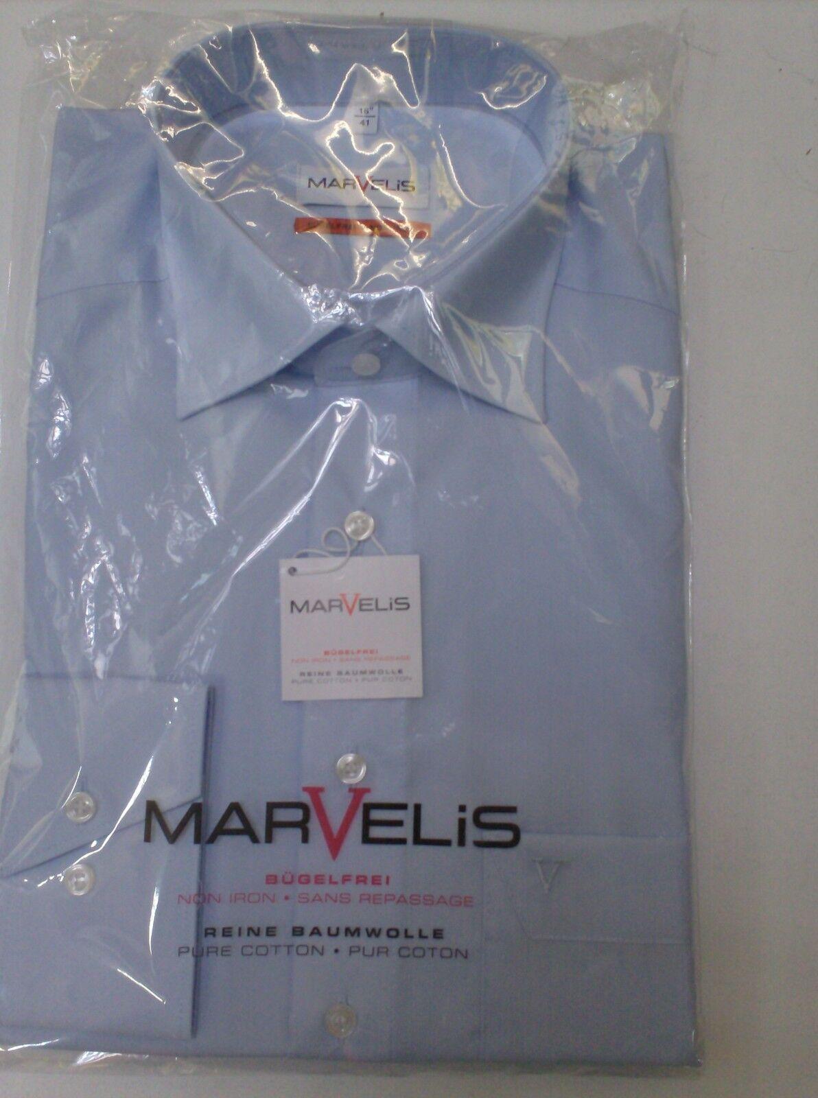 Camicia uomo tinta unita maniche lunghe marvelis 100% 100% 100% cotone no-stiro cf702c