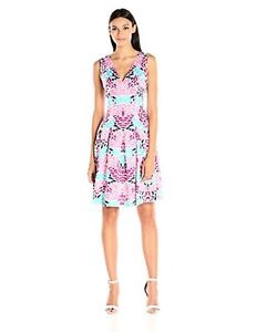 Anne Klein Womens Dresses Double V Neck Printed Cotton Fit