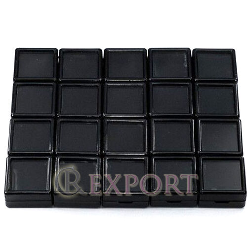 3X3X1.5CM 480PCS SQUARE BLACK GLASS TOP PLASTIC BOX GEMSTONE /& JEWELRY BOX ATPB1