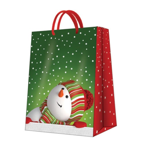D Christmas Printed Paper Gift Present Bag MERRY SNOWMAN Small Horizontal Big