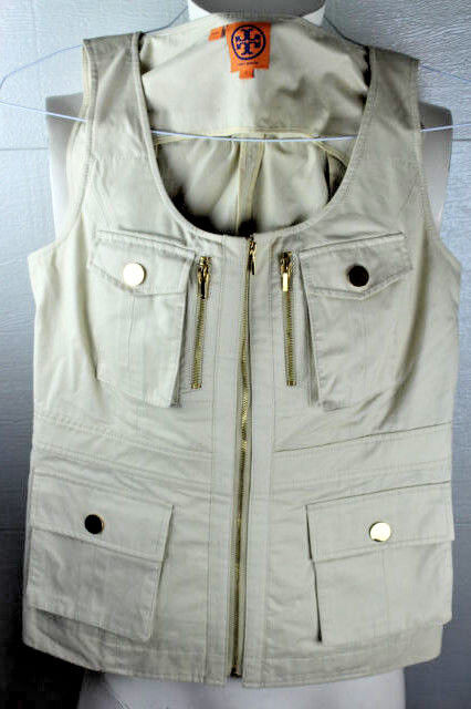 Tory Burch Khaki Sleeveless Full Zip Women 100% Cotton Vest Size 4 Small S