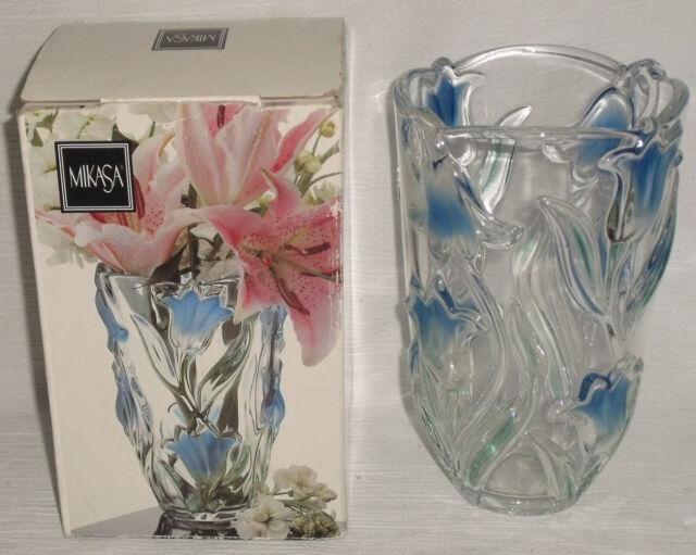 Mikasa Vase Tulips 8 Germany Crystal Green Blue Ebay