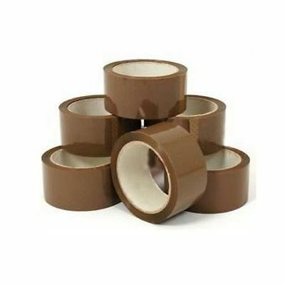 PACK OF 6 ROLLS BROWN PARCEL PACKING TAPE 66m x 48mm PACKAGING SELLOTAPE SEALING