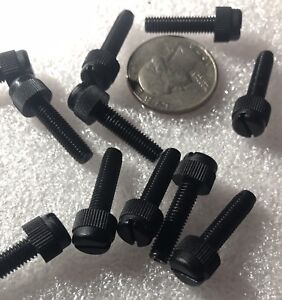 Slotted Thumb Screw 100pcs Black Nylon Plastic M4 x 12mm Thumb Screws Knurled