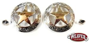 "2 Pack Texas Star 18K Gold Plated Conchos 2"" Screw Back Weaver New Free Shipping"