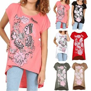 16b7a2068d6 Image is loading Ladies-Womens-Butterflies-Floral-Baggy-Oversized-T-Shirt-