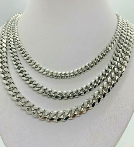 """925 Rhodium Plated Sterling Silver Miami Cuban Link Chain Necklace Men/'s 7/""""-30/"""""""