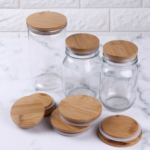4x 70mm//86mm Sealed Bamboo Caps Cover Lids for Mason Jar Canning Drinking Bottle