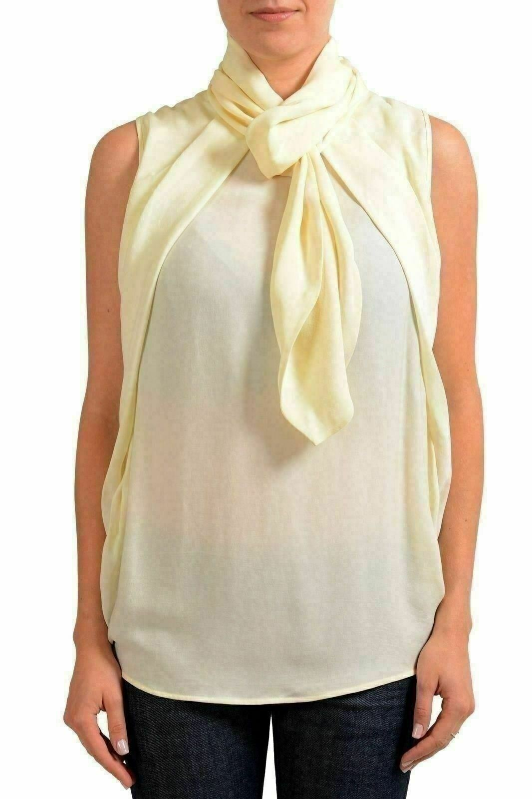 Dsquared2 100% Silk Beige Sleeveless Women's Blouse Top US XS IT 38