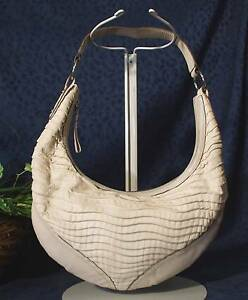 Image Is Loading Attractive Taupe Leather Sabrina Scala Hobo