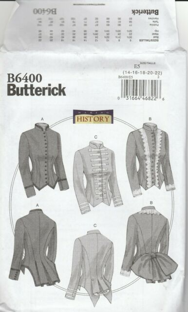 BUTTERICK Sewing Pattern 6400 MAKING HISTORY MISSES FITTED BONED JACKET NEW