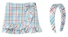 NWT! Janie and Jack Yorkshire Princess Ruffle Bow Skirt, Headband Pink Blue 5T