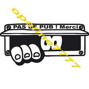 STICKER  PAS DE PUB PUBLICITE POUR BOITE AUX LETTRES CHIEN BOULEDOGUE FRANCAIS