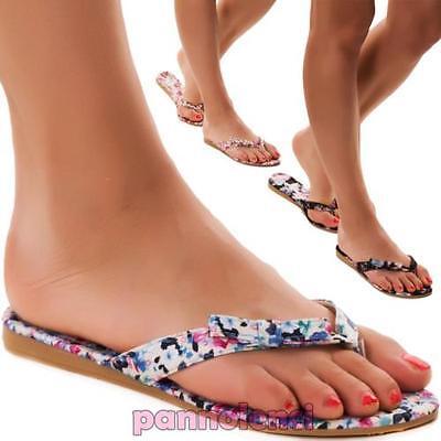 Zapatos de mujer chanclas zapatillas floral flores piso XC339