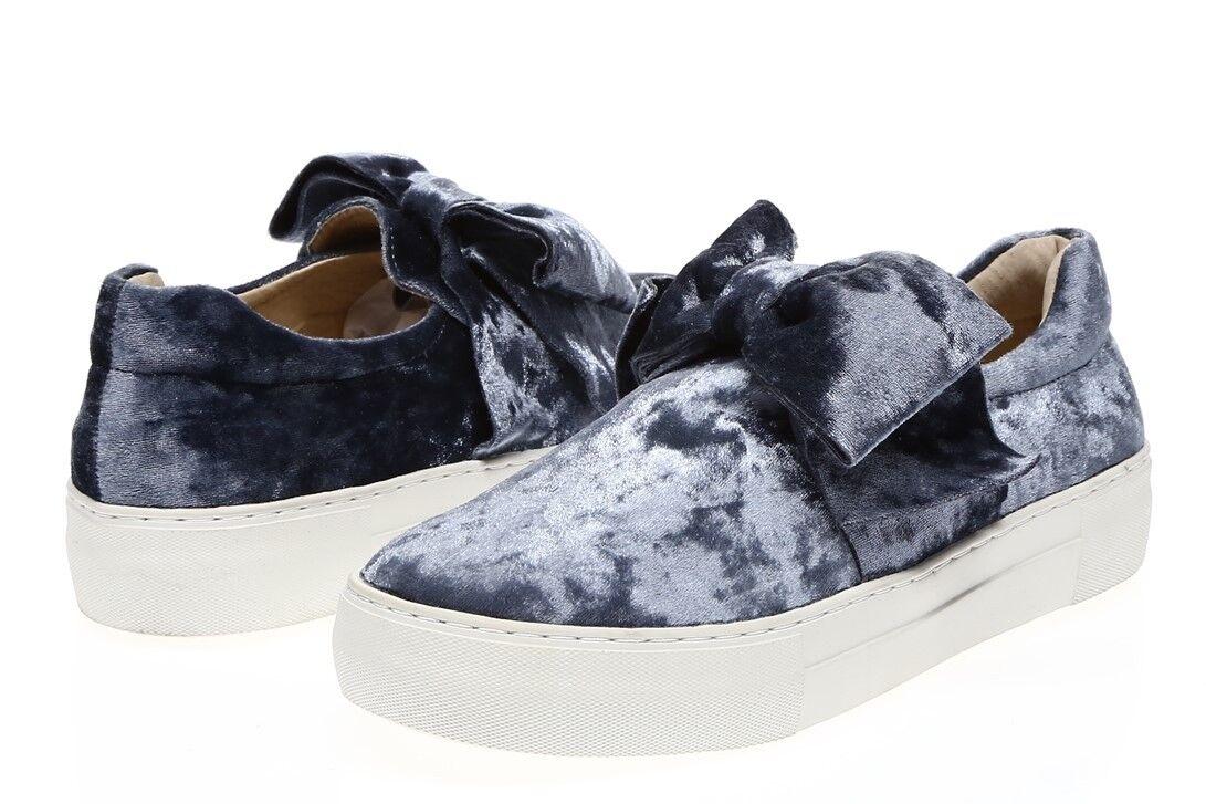 J/SLIDES Damenschuhe 'Annabelle' Pale Blau Velvet Bow Sneakers Sz 8.5 - 230687