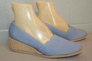9-N-NOS-BLUE-CANVAS-VTG-70s-JUTE-WRAP-WEDGE-HEEL-ESPADRILLE-BOHO-SLIP-ON-Shoe