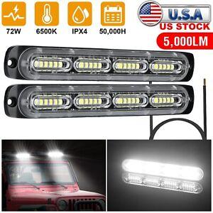 2Pcs 72W LED Work Light Bar Car Truck Offroad Flood Driving Lamp SUV Spot Lights