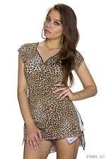 High Low Leoparden Animal Print Shirt T-Shirt Shirt Top Multicolor Braun Gr  38