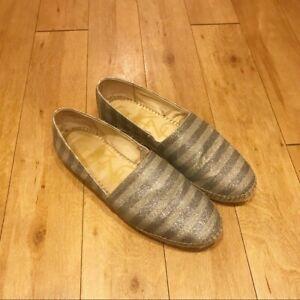 Enzo Angiolini Austyn Espadrille Metallic Silver Shoes Size 8.5